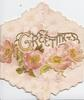 GREETINGS(G illuminated) perforated in gilt, pink wild roses across left flap, white floral design on pink backgrouind