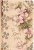 TO GREET YOU in gilt, pink wild roses above & in stylised design