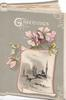 GREETINGS in white above pink wild roses on top of wintry rural inset, grey background, card shaped as book