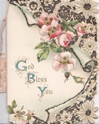 GOD BLESS YOU(G,B &Y illuminated))pink wild roses below havily glittered  & perforated stylised design