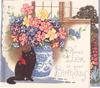 HERE'S LUCK ON YOUR BIRTHDAY black cat beside blue & white ceramic vase with flowers, silvered