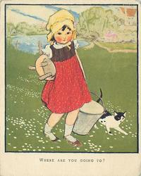 WHERE ARE YOU GOING TO? young girl carries milking pail and stool, black and white cat right, grassy fields