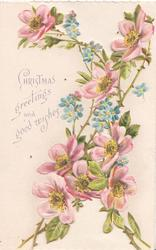 CHRISTMAS GREETINGS AND GOOD WISHES pink wild roses & forget-me-nots right & both flaps