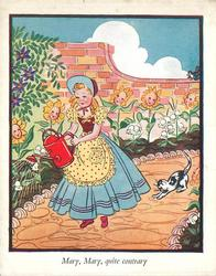 MARY, MARY QUITE CONTRARY young girl waters anthropomorphic flowers, black and white cat behind her