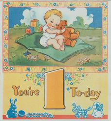 YOU'RE 1 TO-DAY below inset of baby with teddy on blanket, park setting