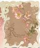 REMEMBRANCE (R illuminated) in gilt, perforated pink wild roses above brown background, elaborate marginal design