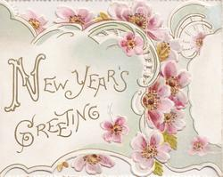 NEW YEAR'S GREETING in gilt, pink wild roses on bordered plaque on perforated left flap