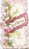 BEST WISHES in gilt, on glittered pink bordered plaque. pink wild roses on fern design left, pale pink background