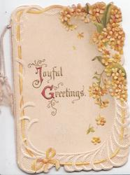 JOYFUL GREETINGS(J & G illuminated), orange laburnum upper right with white marginal design