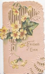 FRIENDS EVER in gilt on pale pink background below yellow primroses & ivy leaf in front of lattice design