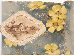 BEST WISHES in gilt below yellow primroses & white design round watery rural inset in brown