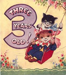 THREE YEARS OLD! inside large purple 3, two cats on tree swing, yellow background