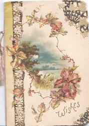 WISHES in gilt below glittered blackberry around watery rural evening inset , perforated design left,pale pink background