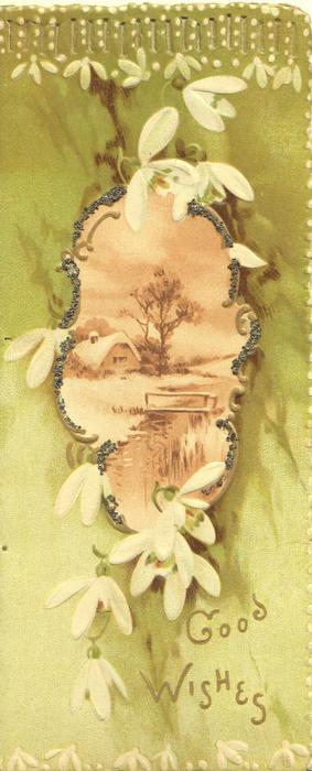GOOD WISHES in gilt below white cyclamen around wintry rural inset, perforated design top, green background