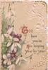 GOD HAVE YOU IN HIS KEEPING YEAR BY YEAR right, snowdrops & violets left,  white marginal design