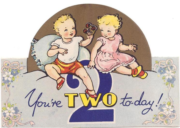 YOU'RE TWO TO-DAY! large blue 2,  two toddlers sit, circular die-cut gilt background, stylised flowers & pink ribbon