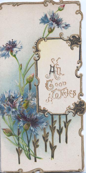 ALL GOOD WISHES on white gilt bordered plaque, blue cornflowers left & around, gilt marginal design