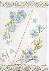 BEST WISHES lower left below blue cornflowers, which are also in top & bottom marginal designs