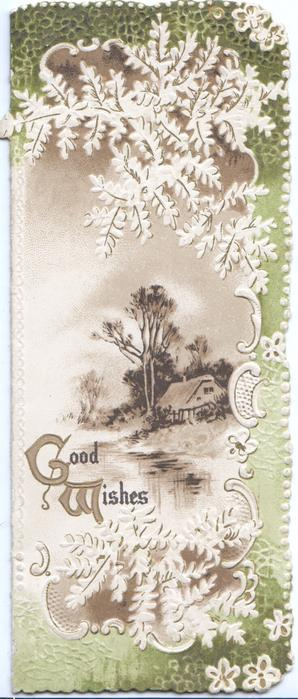 GOOD WISHES(G &W illuminated ) below watery rural inset surrounded by stylised white ferns & green design
