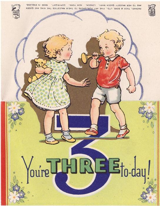 YOU'RE THREE TO-DAY!  large blue 3, two young children stand, gilt shadow, stylised flowers & red side panels