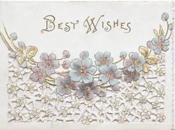 BEST WISHES  in gilt, violets across the base of top flap above extensive perforated whitef loral & lattice design