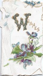WISHES (W illuminated & glittered )bunch of blue violets on white backgound, white ribbon left