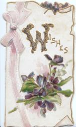 WISHES (W illuminated & glittered)bunch of violets on white backgound, pink ribbon left