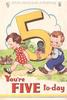 YOU'RE FIVE TO-DAY girl & boy carry large yellow 5 with golly sitting on it, two rabbits left