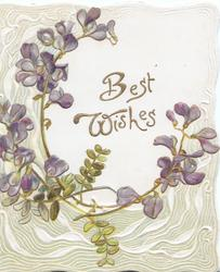 BEST WISHES on white, violets & grey perforated design left & below