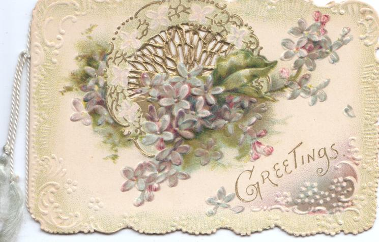 GREETINGS in gilt below violets in front of perforated white design, white marginal designs