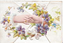 no front title, male & female hands clasp within circlet of violets on left flap