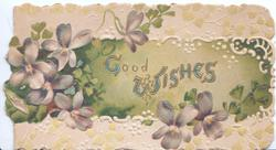 GOOD WISHES (illuminated letters ) on green plaque, violets left and around