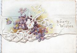 HEARTY WISHES right,  violets & white design left