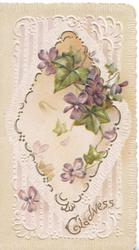 GLADNESS in gilt lower right on complex diamond shaped white & gilt design containing violets, pale brown background