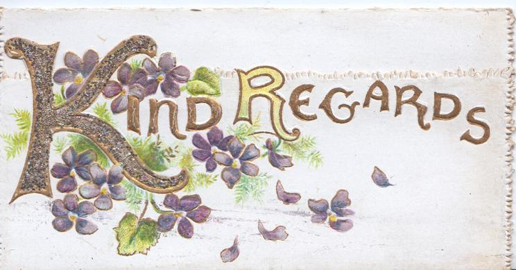 KIND REGARDS (K illuminated & glittered). violets around