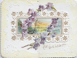 ALL GOOD BETIDE YOU in gilt, circlet of violets perforated to show watery rural inset, white designs