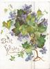 BEST WISHES in gilt,  violets & glittered ivy leaves across both flaps