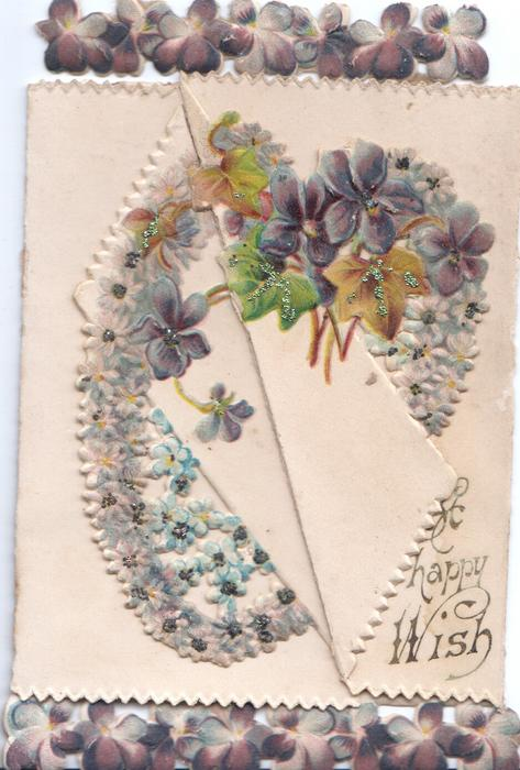 A HAPPY WISH violets & forget-me-nots in design across both flaps, violet border design top  & bottom