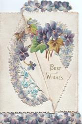 BEST WISHES violets & forget-me-nots in design across both flaps, violet border design top  & bottom