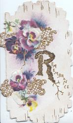 REMEMBRANCE (R illuminated & glittered) in gilt, multicoloured pansies left with gilt design