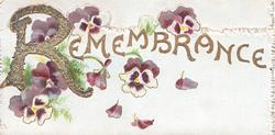 REMEMBRANCE (R illuminated & glittered) in gilt at top of lower flap, purple & white pansies around