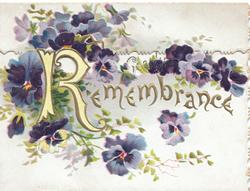 REMEMBRANCE (R illuminated  & glittered) in gilt at  top of lower flap, purple pansies  & ginkgo leaves around