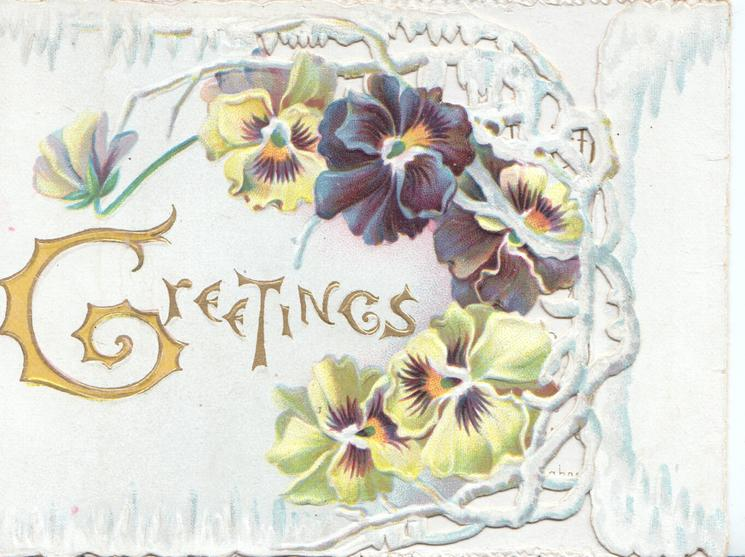 GREETINGS (G illuminated)in gilt, multicoloured pansies on right of perforated front flap, very pale blue background