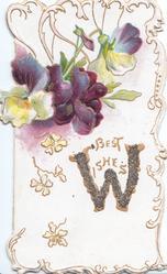 BEST WISHES(W illuminated & glittered)in gilt below multicolour pansies, gilt & white  marginal design