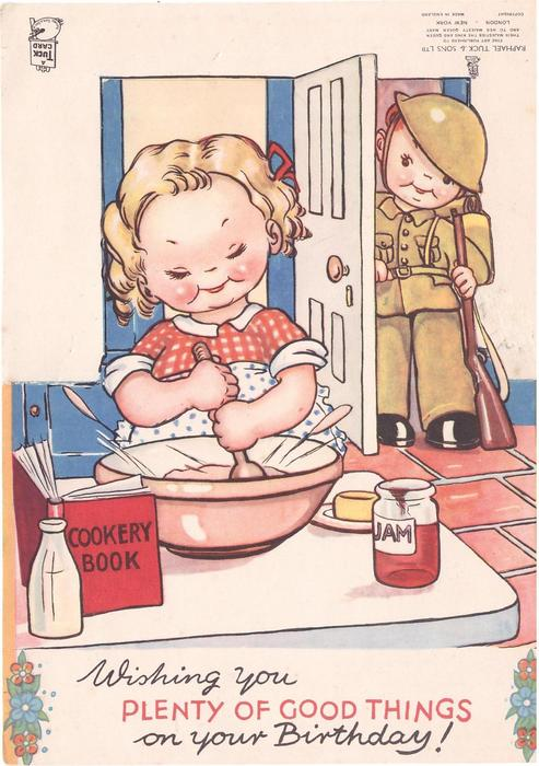 WISHING YOU PLENTY OF GOOD THINGS ON YOUR BIRTHDAY! girl stirs batter front, boy in military uniform behind
