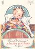 GOOD MORNING! A HAPPY BIRTHDAY TO YOU!  girl in bed with rag curlers clasps patchwork quilt, stylised flowers