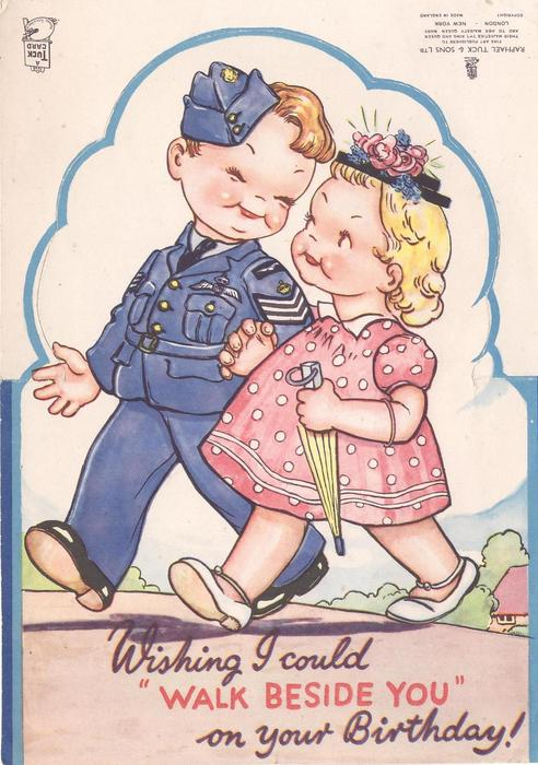 """WISHING I COULD """"WALK BESIDE YOU"""" ON YOUR BIRTHDAY young boy in naval uniform, walks left with girl in pink dress"""