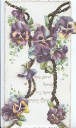 no front title, mostly purple pansies & glittered vertical margins on both front  flaps,