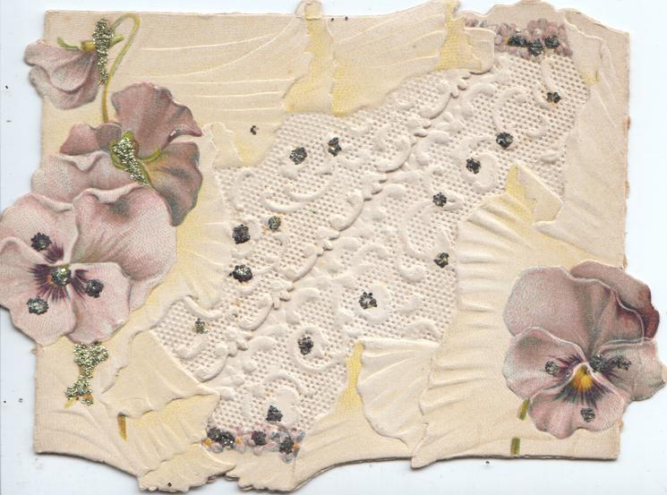 no front title but GOOD WISHES on left flap, purple pansies on both flaps, glittered central white design