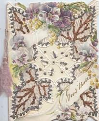 GOOD WISHES white & purple pansies in very complex glittered perforated design